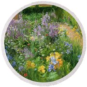 Sweet Rocket - Foxgloves And Irises Round Beach Towel by Timothy Easton