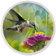 Sweet Success Hummingbird Square Round Beach Towel by Christina Rollo