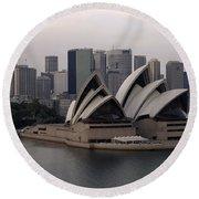 Sydney Australia Skyline Round Beach Towel by Bob Christopher