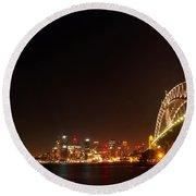 Sydney By Night Round Beach Towel by Kaleidoscopik Photography