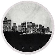 Sydney City Skyline With Opera House Round Beach Towel by World Art Prints And Designs