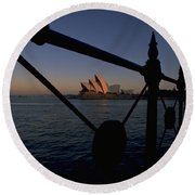 Round Beach Towel featuring the photograph Sydney Opera House by Travel Pics