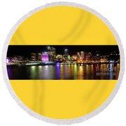Sydney Skyline By Kaye Menner Round Beach Towel by Kaye Menner
