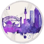 Sydney Skyline Watercolor Poster - Cityscape Painting Artwork Round Beach Towel by Beautify My Walls