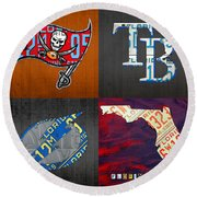 Tampa Bay Sports Fan Recycled Vintage Florida License Plate Art Bucs Rays Lightning Plus State Map Round Beach Towel by Design Turnpike