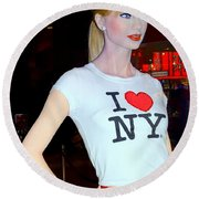 Taylor In Times Square Round Beach Towel by Ed Weidman