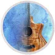 Taylor Inspirational Quote, Acoustic Guitar Original Abstract Art Round Beach Towel by Pablo Franchi