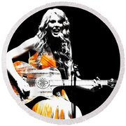 Taylor Swift 9s Round Beach Towel by Brian Reaves