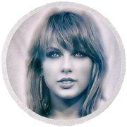 Taylor Swift - Beautiful Round Beach Towel by Robert Radmore