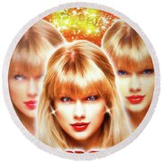 Taylor Swift - Beautiful Vision Round Beach Towel by Robert Radmore
