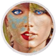 Taylor Swift - Blended Perfection Round Beach Towel by Robert Radmore