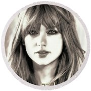Taylor Swift - Glowing Beauty Round Beach Towel by Robert Radmore