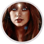 Taylor Swift - Goddess Round Beach Towel by Robert Radmore