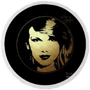 Taylor Swift In Gold Circle Round Beach Towel by Wagner Povoa