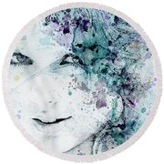 Taylor Swift Round Beach Towel by JW Digital Art