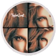 Taylor Swift - Parallels Round Beach Towel by Robert Radmore