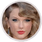 Taylor Swift Round Beach Towel by Samuel Majcen