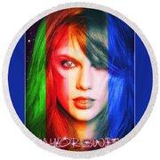 Taylor Swift - Sparks Round Beach Towel by Robert Radmore