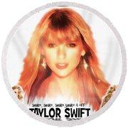 Taylor Swift - Stunning Round Beach Towel by Robert Radmore