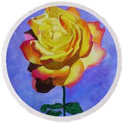 Round Beach Towel featuring the painting Tea Rose by Rodney Campbell