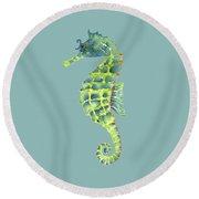 Teal Green Seahorse Round Beach Towel by Amy Kirkpatrick