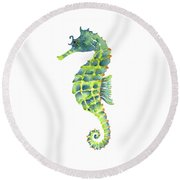 Teal Green Seahorse - Square Round Beach Towel by Amy Kirkpatrick