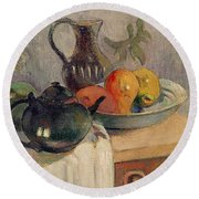 Teiera Brocca E Frutta Round Beach Towel by Paul Gauguin