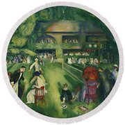 Tennis At Newport Round Beach Towel by George Bellows