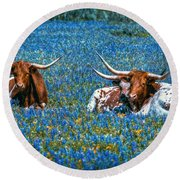 Texas In Blue Round Beach Towel by Linda Unger