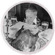 Thanksgiving Dinner Round Beach Towel by American School