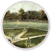 The American National Game Of Baseball Grand Match At Elysian Fields Round Beach Towel by Currier and Ives