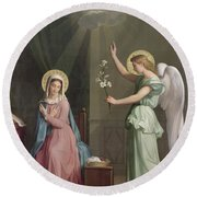 The Annunciation Round Beach Towel by Auguste Pichon