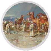 The Arab Caravan   Round Beach Towel by Italian School