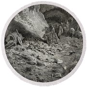 The Army Of The Second Crusade Find The Remains Of The Soldiers Of The First Crusade Round Beach Towel by Gustave Dore