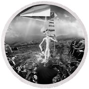 The Arrival Black And White Round Beach Towel by Marian Voicu
