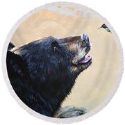 The Bear And The Hummingbird Round Beach Towel by J W Baker