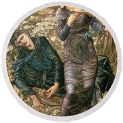 The Beguiling Of Merlin Round Beach Towel by Sir Edward Burne-Jones