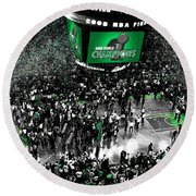 The Boston Celtics 2008 Nba Finals Round Beach Towel by Brian Reaves