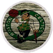 The Boston Celtics 2w Round Beach Towel by Brian Reaves