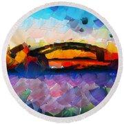 The Bridge I Will Cross Round Beach Towel by Sir Josef - Social Critic - ART