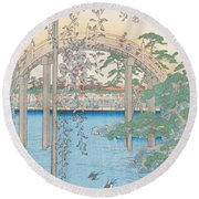The Bridge With Wisteria Round Beach Towel by Hiroshige