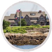 The Bush Compound Kennebunkport Maine Round Beach Towel by Brian MacLean