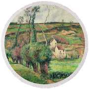 The Cabbage Slopes Round Beach Towel by Camille Pissarro