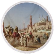 The Caravan Round Beach Towel by Alberto Bozzo