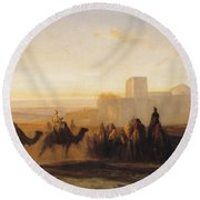 The Caravan Round Beach Towel by Alexandre Gabriel Decamps