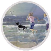 The Chase Round Beach Towel by William Ireland