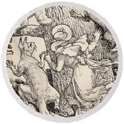 The Children Climbed The Christmas Tree With Animals And All Round Beach Towel by Walter Crane