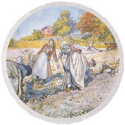 The Children Filled The Buckets And Baskets With Potatoes Round Beach Towel by Carl Larsson