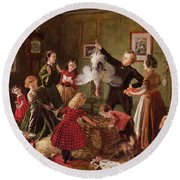 The Christmas Hamper Round Beach Towel by Robert Braithwaite Martineau