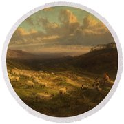 The Closing Day, Scene In Sussex Round Beach Towel by George Vicat Cole